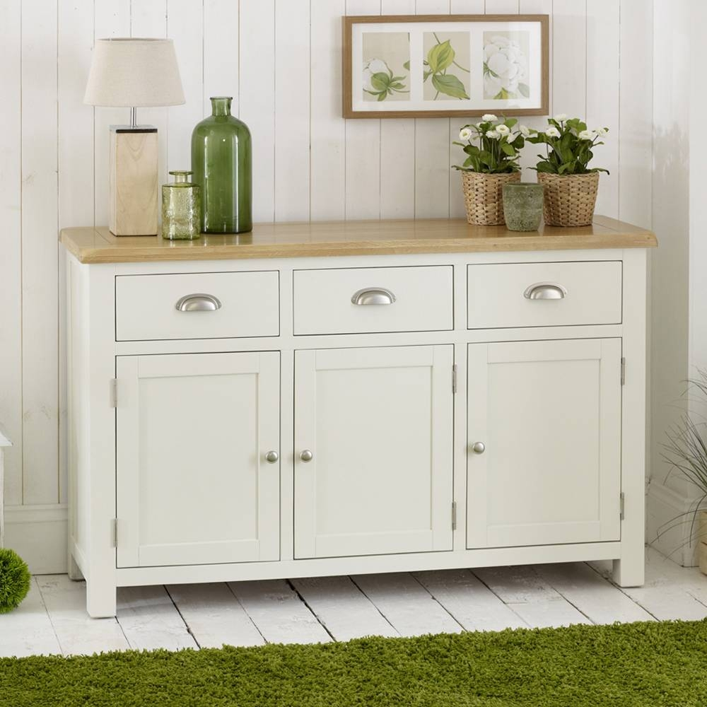 Cream Painted 3 Door Large Sideboard Pertaining To Cream Sideboards (#4 of 15)