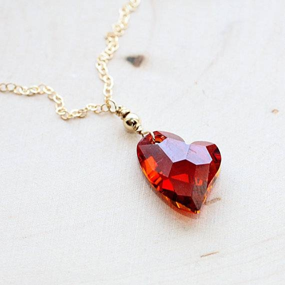 Crystal Heart Necklace Valentines Day Gift For Her Gold With Newest Valentine Pendants (#11 of 15)
