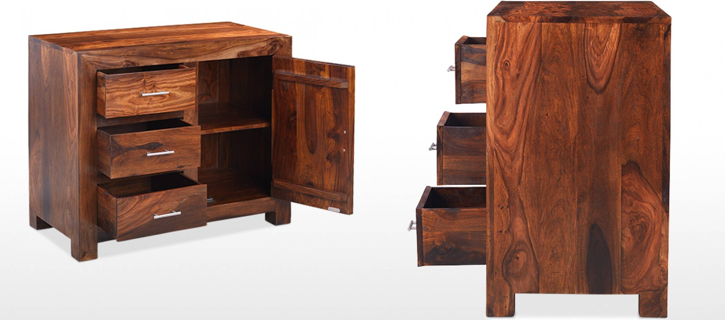 Cube Sheesham Small Sideboard | Quercus Living Intended For Small Dark Wood Sideboards (#2 of 15)