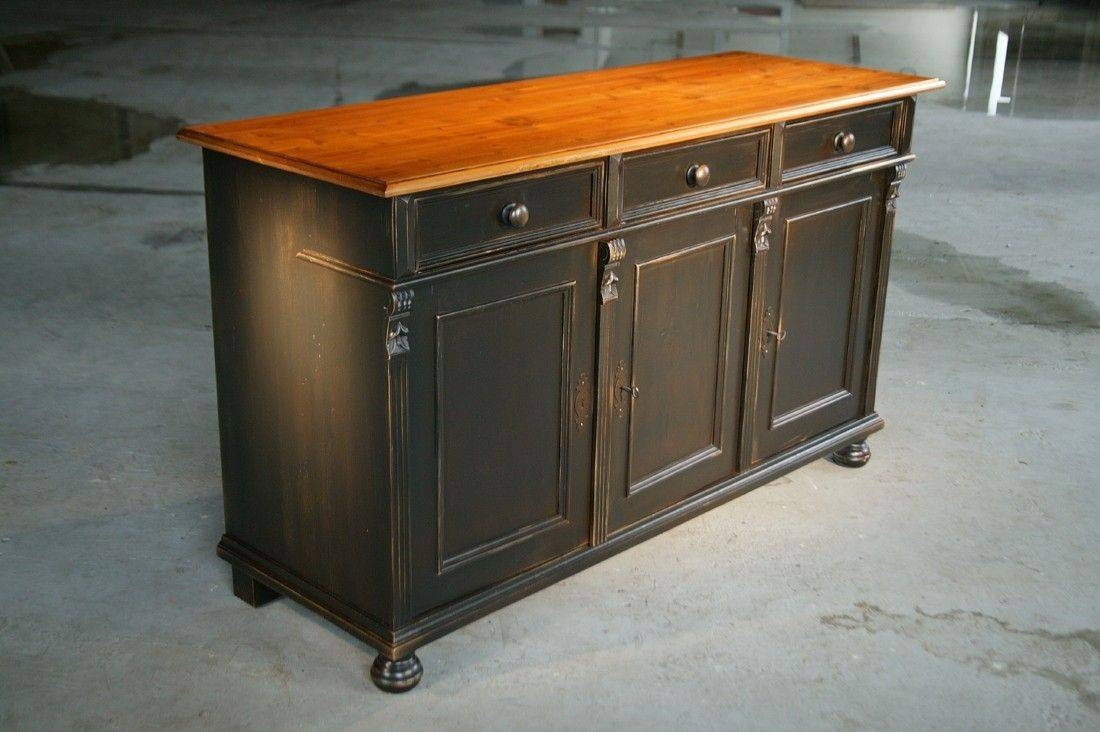 Custom Made Black Kitchen Island From Reclaimed Pine Sideboard Intended For Pine Sideboards And Buffets (#3 of 15)