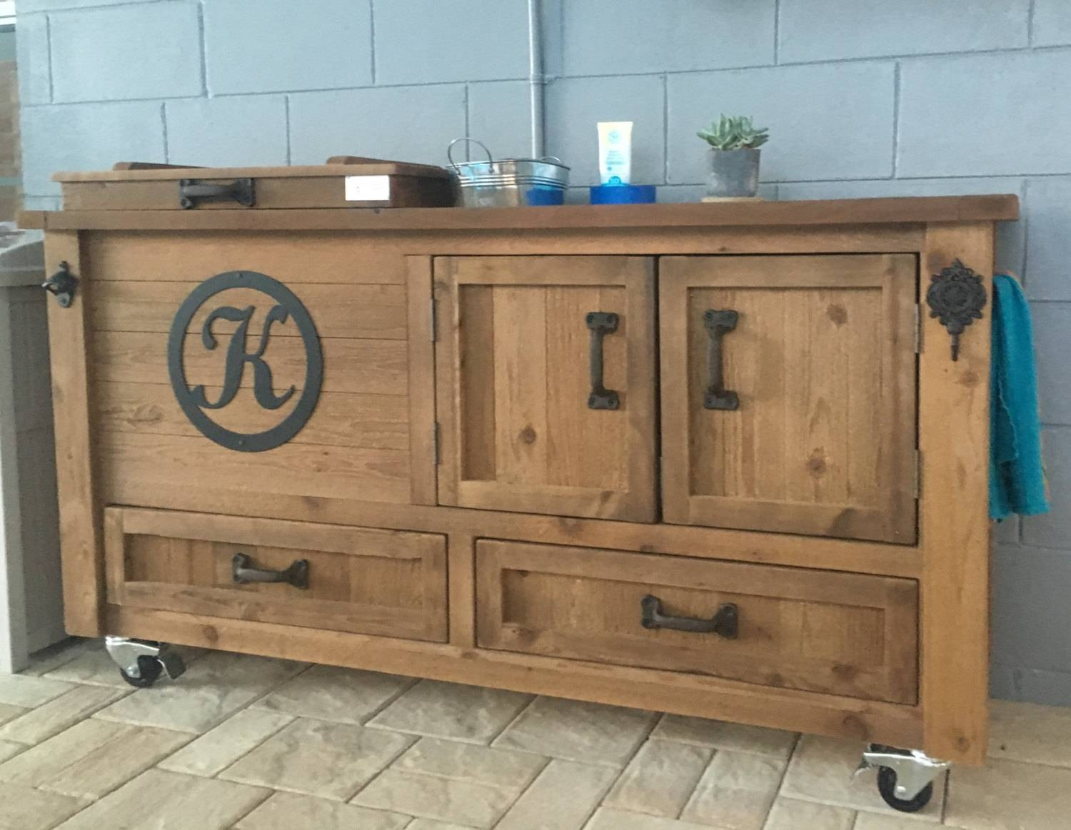 Custom Outdoor Cabinet Rustic Cooler Outdoor Bar Cart Pertaining To Outdoor Sideboards And Buffets (View 4 of 15)