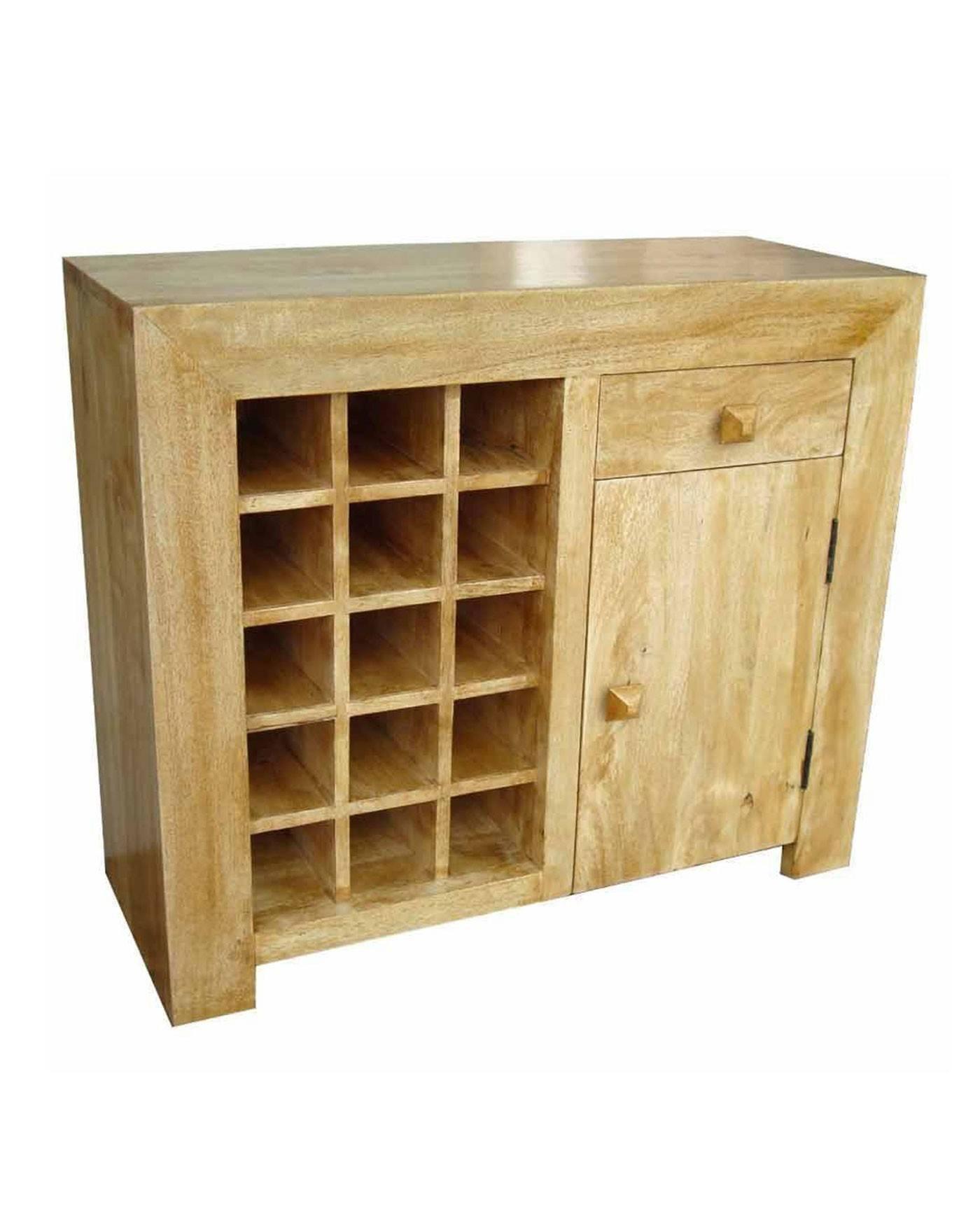 Dakota Sideboard With Wine Rack Oak Shade – Homescapes With Regard To Oak Sideboards With Wine Rack (#3 of 15)