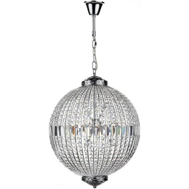 Dar Lighting Equator 12 Light Ceiling Pendant In Polished Chrome Inside Latest Crystal Pendant Lights Uk (#11 of 15)