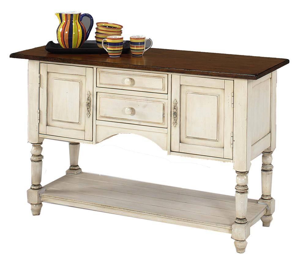 Designmaster Tables Barnstead Sideboard With Old World White Base In White Sideboard Cabinets (View 11 of 15)