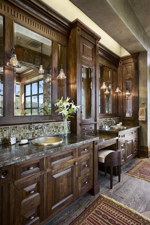 Detailed — Sublipalawan Style : Gorgeous Bathrooms With Dark Cabinets Pertaining To Bare Bulb Filament Single Pendants (View 3 of 15)