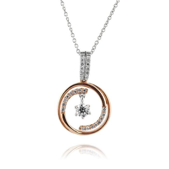 Diamond Pendant In 14k Two Tone Gold With Most Up To Date Dancing Pendants (View 3 of 15)