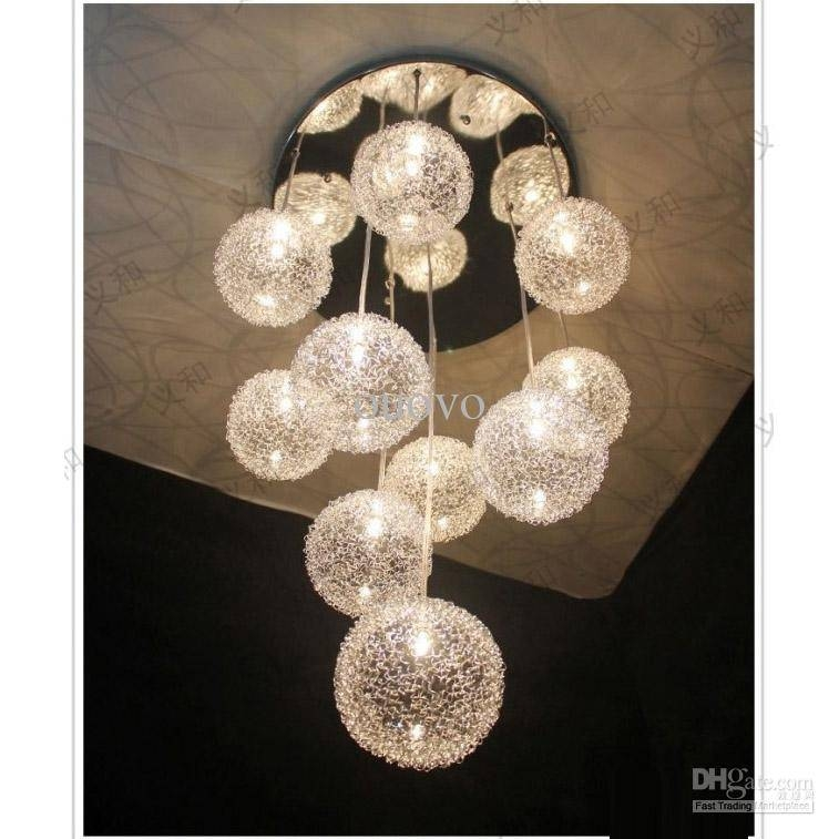 Discount 10 Heads Glass Aluminum Wire Glass Balls Living Room Regarding 2018 Ball Pendant Lamps (#5 of 15)