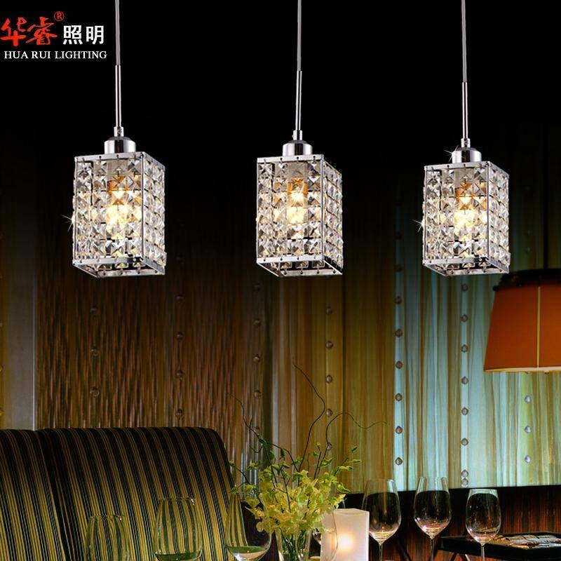 Discount 3head Modern Square Led Crystal Chandeliers Dining Room With Best And Newest Crystal Led Pendant Lights (View 10 of 15)
