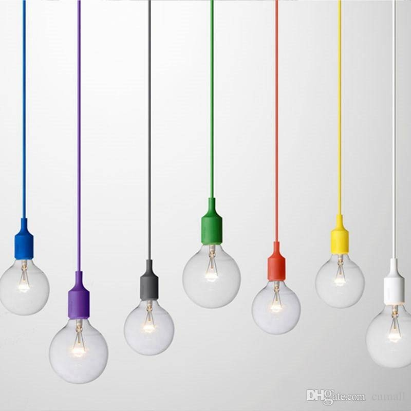 Discount Art Decor Silicone E27 Pendant Lamp Ceiling Light Bulb With Regard To Most Recently Released E27 Pendant Lamps (#4 of 15)