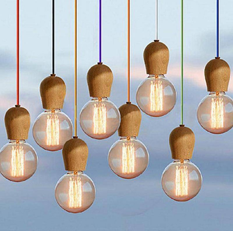 Discount Diy New Modern Diy Wooden Edison Pendant Light Ceiling Intended For Latest E27 Pendant Lamps (#5 of 15)