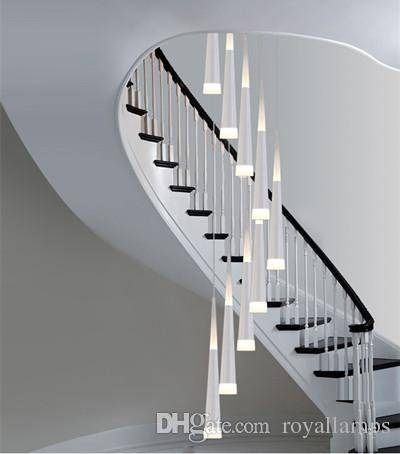 Discount Long Stairway 9 Led Pendant Lights Spiral Led Stair Inside Best And Newest Long Pendant Lighting (#7 of 15)