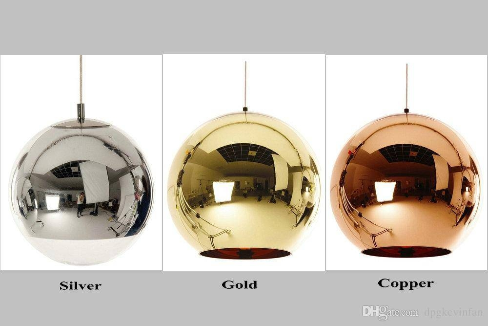 Discount Mirror Ball Pendant Plated Glass Ball Chandelier Modern With Most Current Mirror Pendant Lights (#2 of 15)