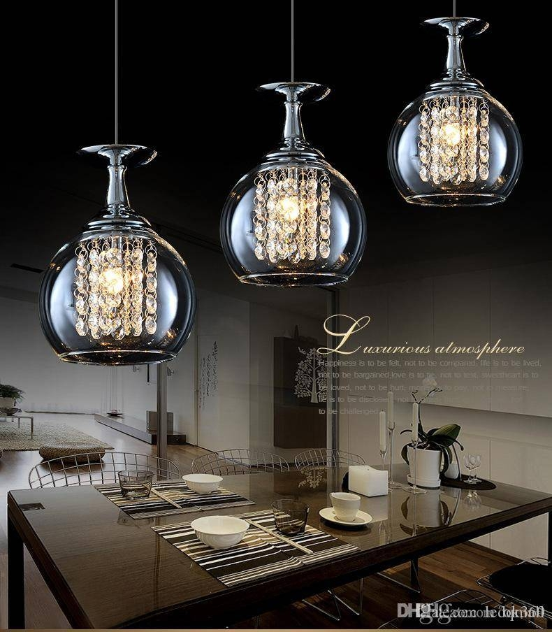 Discount Modern Clear Wine Glass Crystal Pendant Light 20W G4 In Most Current Large Modern Pendant Lights (#6 of 15)