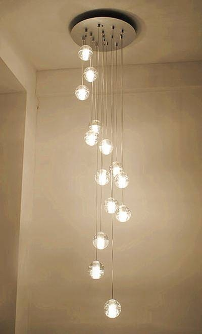 Discount Modern Led Crystal Glass Ball Pendant Lights Long Stair Within Recent Long Pendant Lighting (#8 of 15)