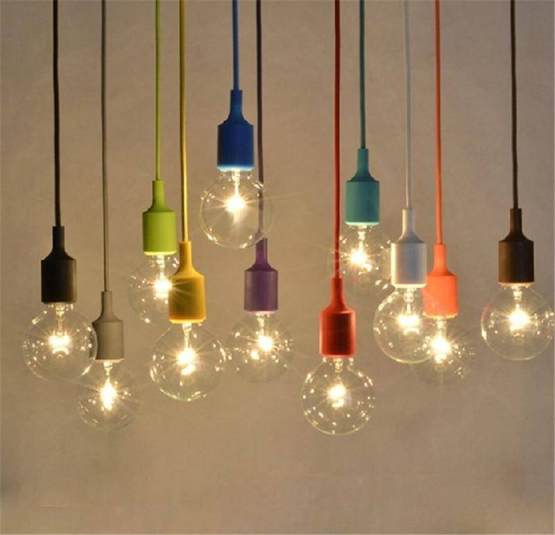 Discount Muuto Pendent Light Multicolour Silica Gel Lamp Holder Throughout Newest Bulb Pendants (#6 of 15)