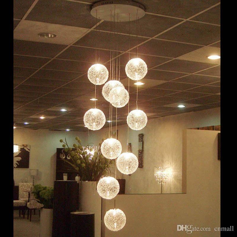 Discount Pendant Lamps Led Aluminium Glass Ball Pendant Lamp Stair Inside Newest Long Pendant Lighting (#9 of 15)