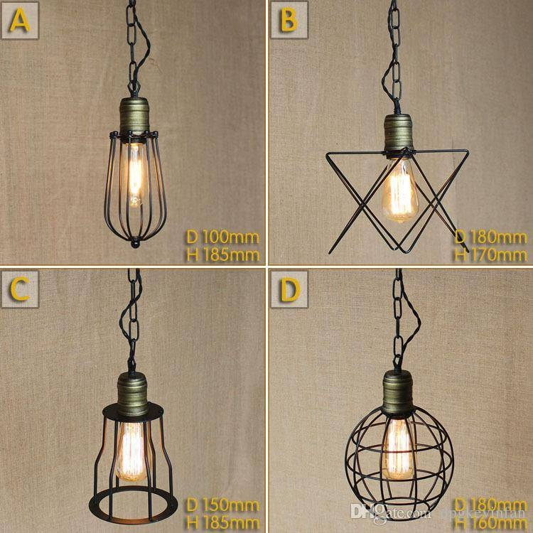 Discount Vintage Small Iron Cages Pendant Lighting Ceiling Lamp With Regard To Wrought Iron Pendant Lights (View 6 of 15)