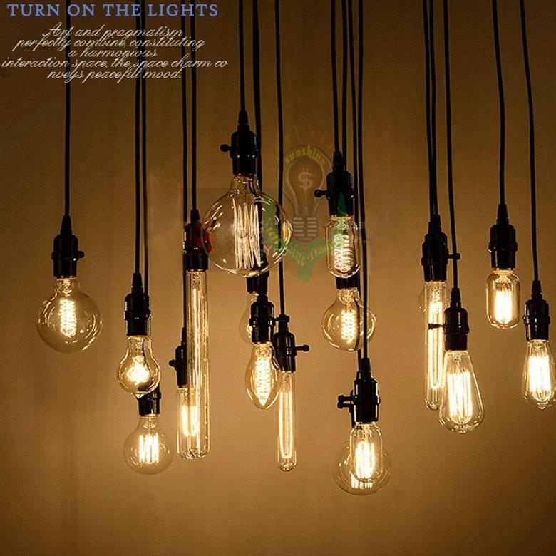 Discount Wholesale Edison Antique Bulb Pendant Lamps Diy Nostalgic Within Latest Bulb Pendants (#7 of 15)