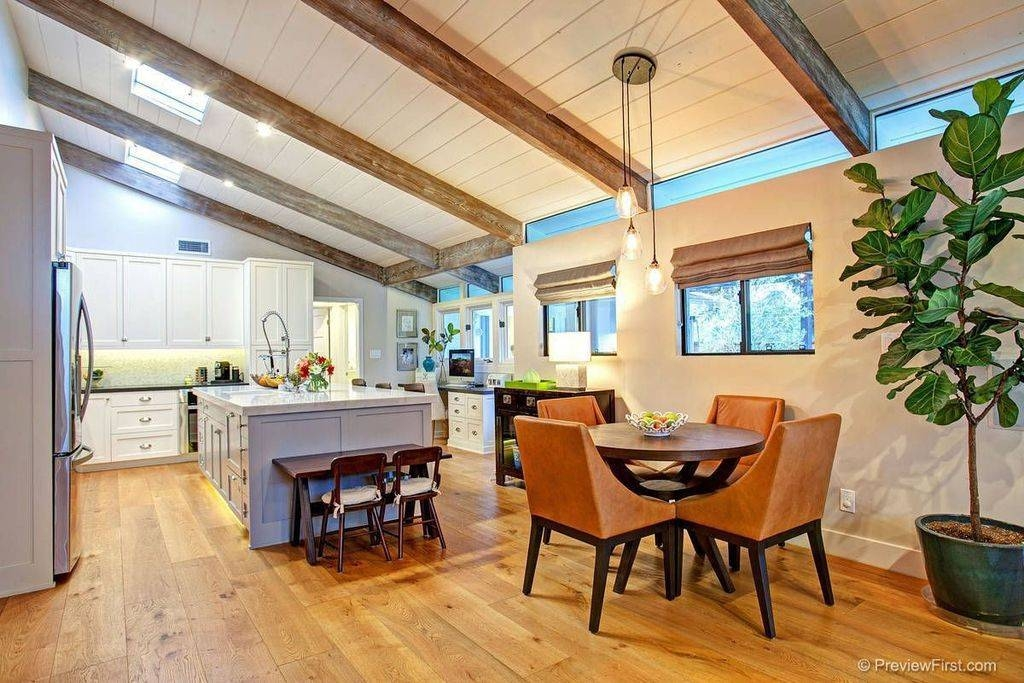 Eclectic Dining Room With Pendant Light & Exposed Beam In San In Paxton Glass 3 Pendant Lights (#1 of 15)