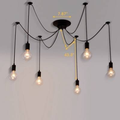 Edison Bulb Black Multi Light Pendant – Beautifulhalo With 2017 Multi Bulb Pendants (#5 of 15)