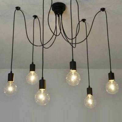 Edison Bulb Black Multi Light Pendant – Beautifulhalo Within Most Current Multi Bulb Pendants (#6 of 15)
