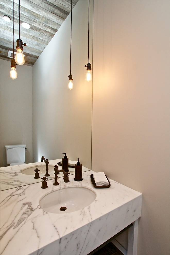 Edison Light Fixtures Powder Room Farmhouse With Bare Bulb Pendant Throughout Industrial Bare Bulb Pendant Lights (View 11 of 15)