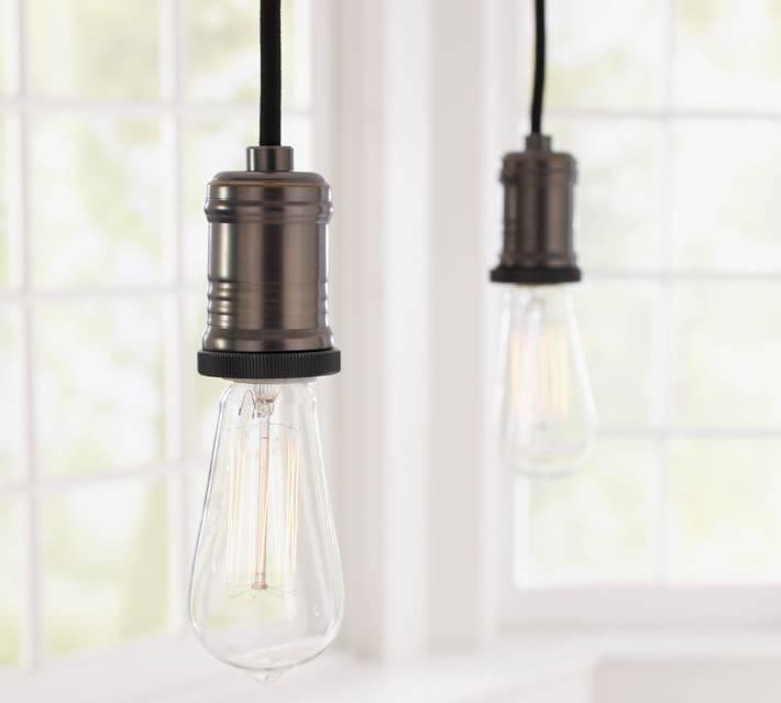 Exposed Bulb Pendant Track Lighting | Pottery Barn Regarding 2018 Bulb Pendants (#10 of 15)