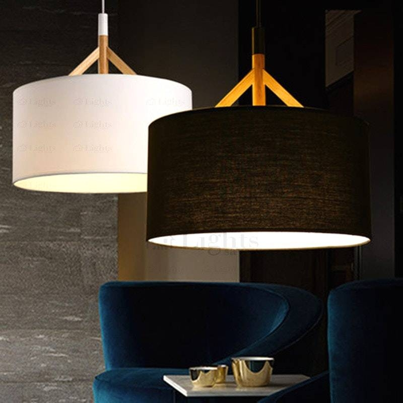 Fabric Shade Pendant Light With Drum Black And 9 Brief Pertaining To Newest Fabric Pendant Lighting (#7 of 15)