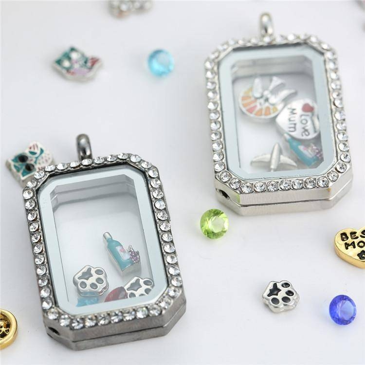 Fashion Rectangle Glass Locket Pendants Necklaces Memory Living Intended For Most Popular Memory Glass Pendants (#7 of 15)