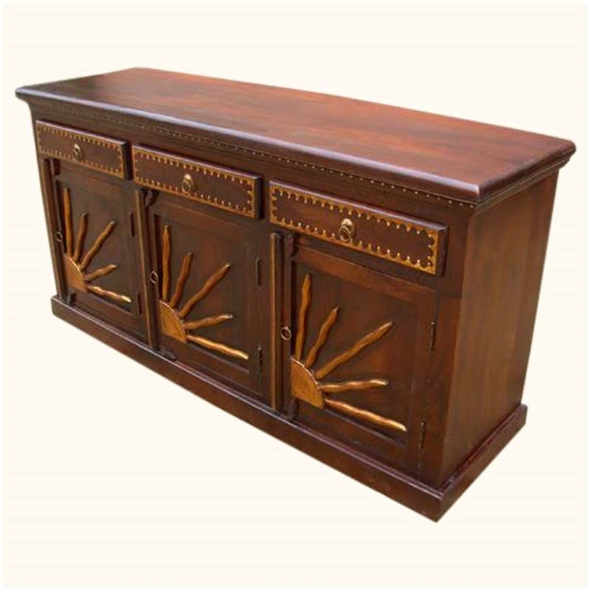 Fe Brass Sunrise Dining Room Sideboard Buffet Storage Cabinet With Regard To Santa Fe Sideboards (#1 of 15)