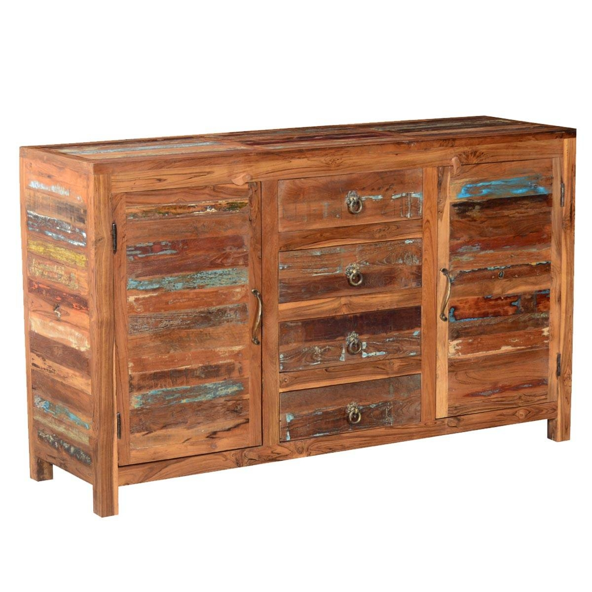 Fe Distressed Rustic Reclaimed Wood Sideboard Buffet Cabinet Intended For Santa Fe Sideboards (#2 of 15)