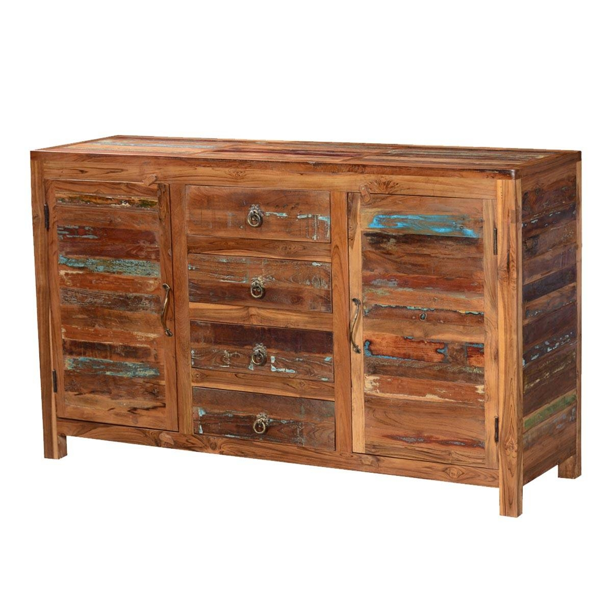 Fe Distressed Rustic Reclaimed Wood Sideboard Buffet Cabinet With Santa Fe Sideboards (#4 of 15)