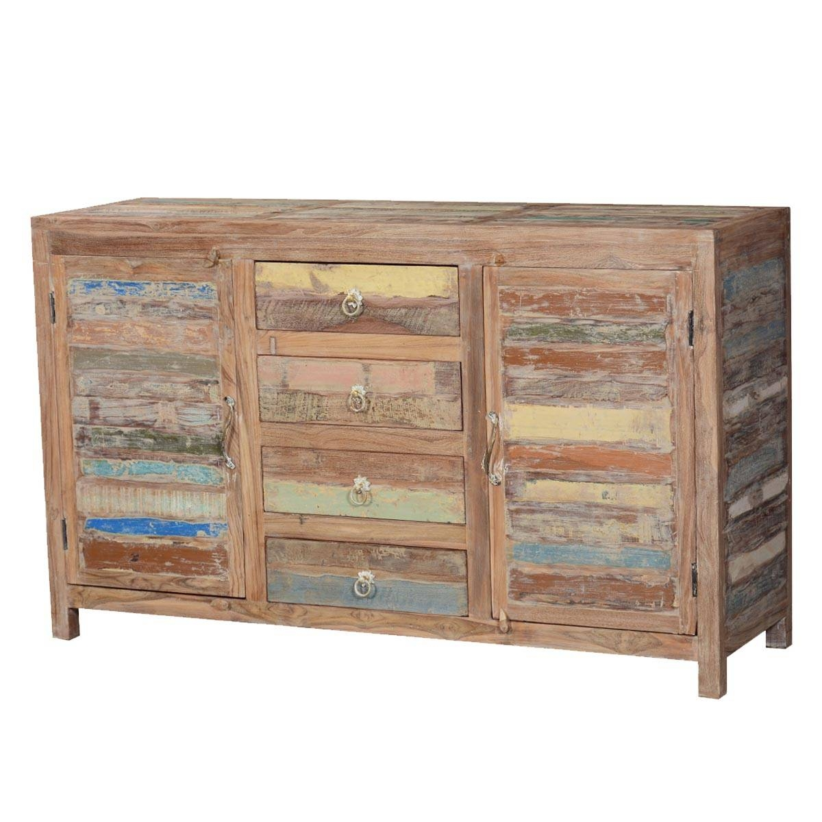 Fe Rustic Sunset Reclaimed Wood Buffet Sideboard Cabinet Regarding Santa Fe Sideboards (#5 of 15)
