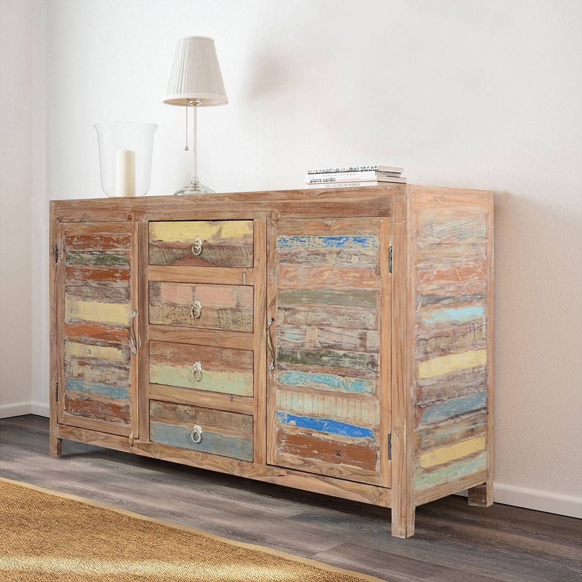 Fe Rustic Sunset Reclaimed Wood Buffet Sideboard Cabinet With Regard To Santa Fe Sideboards (#6 of 15)