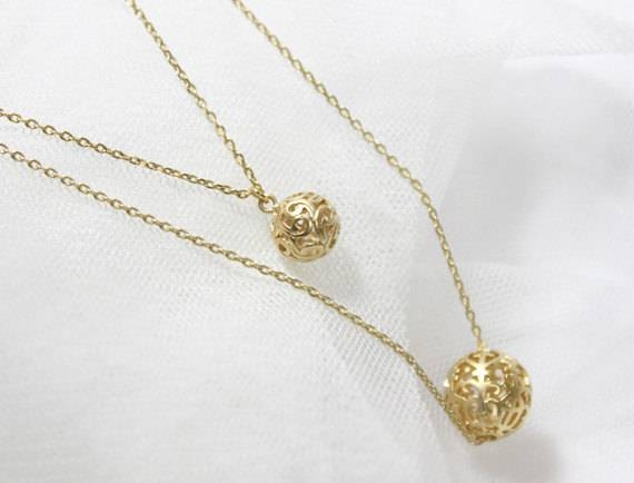 Filigree Gold Ball Pendant Double Layers Chain Necklace Regarding Newest Gold Ball Pendants (#5 of 15)