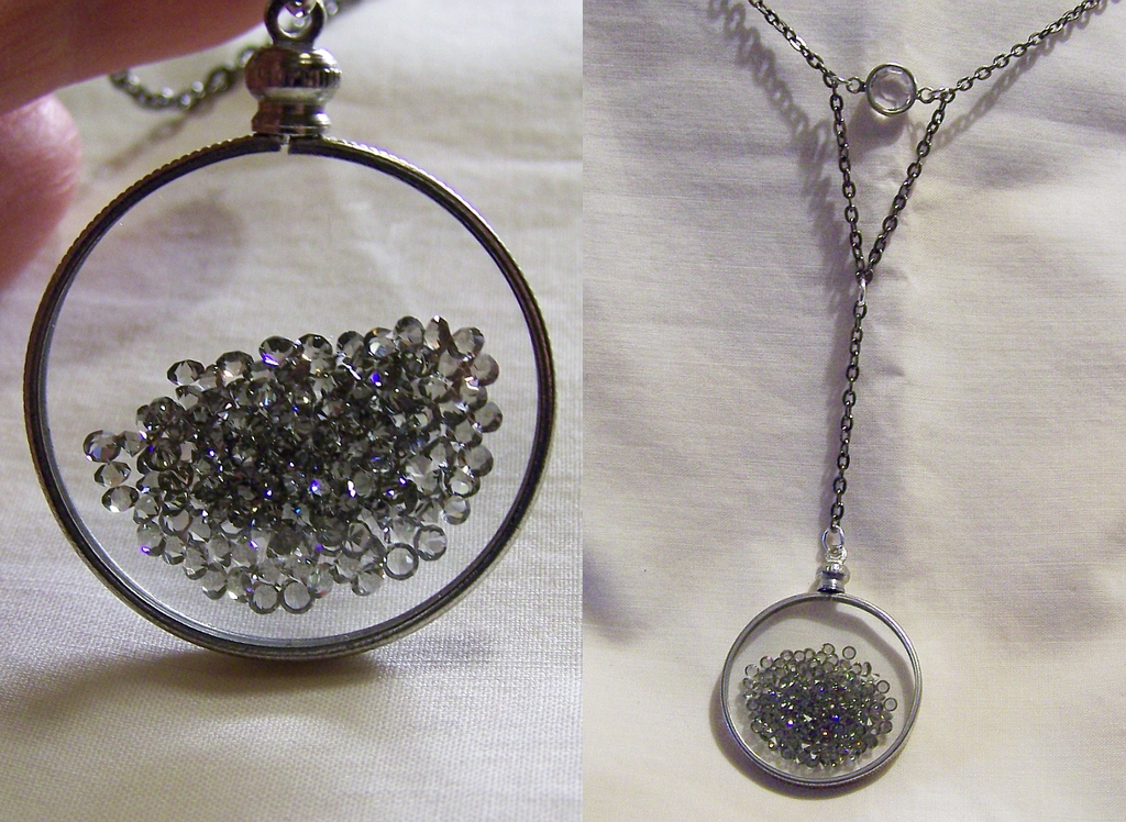 Floating Crystals Swarovski Glass Memory Locketmymysticgems On Regarding Best And Newest Memory Glass Pendants (#8 of 15)