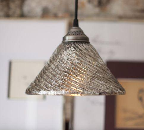 Fluted Antique Mercury Glass Pendant – Pottery Barn For Mercury Glass Pendant Lights At Anthropologie (#2 of 15)