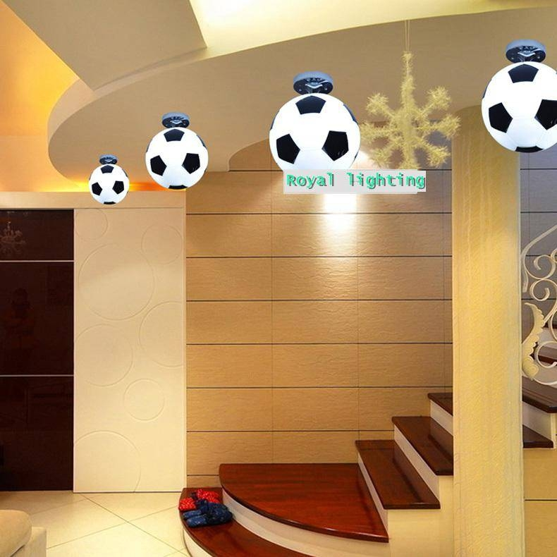 Football Ceiling Lamps Abajur Soccer Ball Ceiling Lights Hanging Within Most Up To Date Football Pendant Lights (#9 of 15)