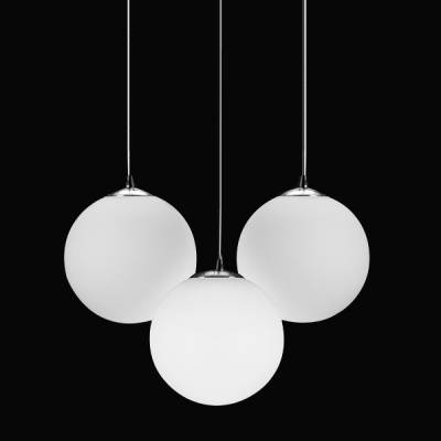Frosted Glass Ball Pendant Light, 3 Lights – Beautifulhalo Throughout Most Current Ball Pendant Lights (#12 of 15)