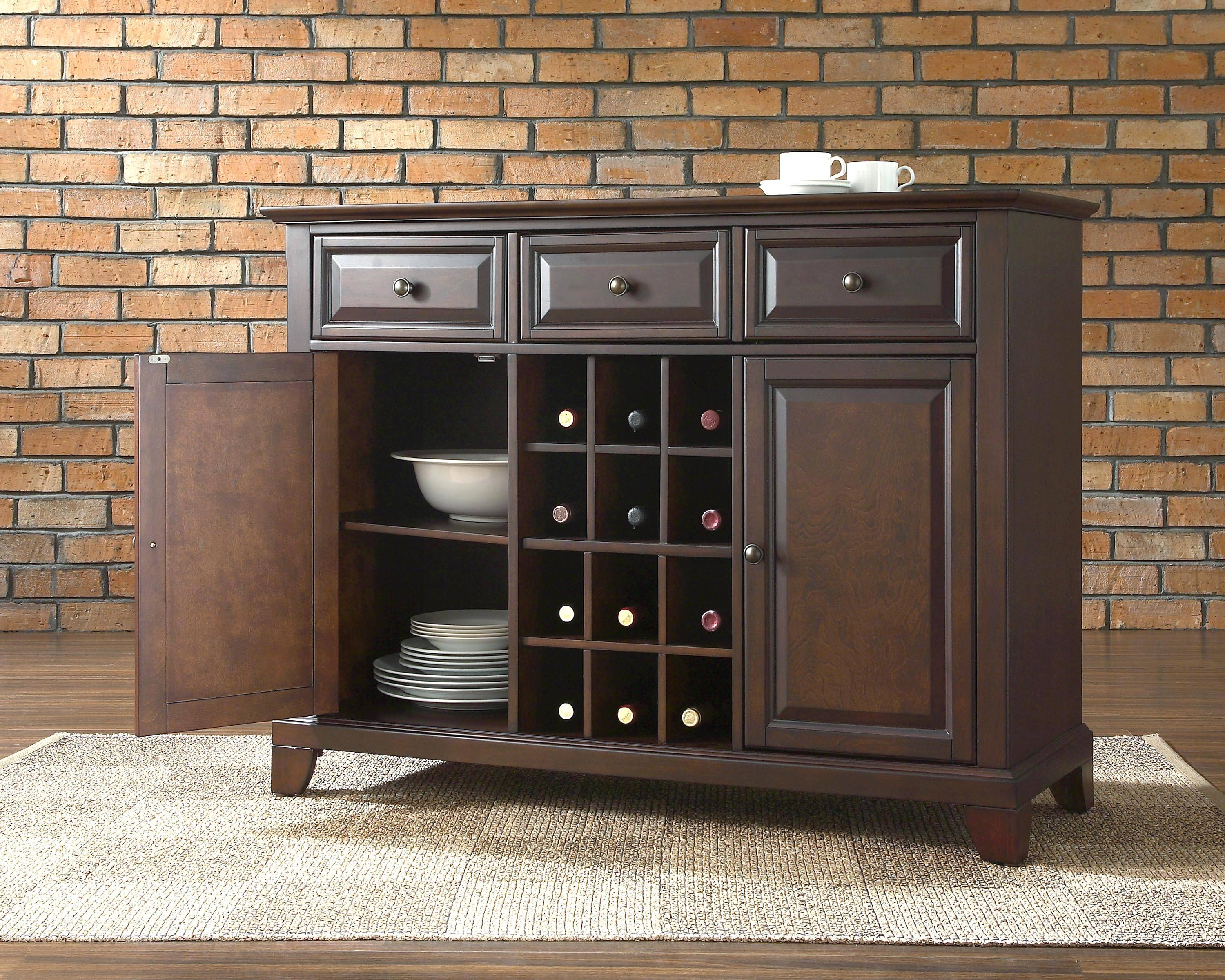 Furniture: Exciting Brick Wall With Dark Buffet Sideboard And Cozy Regarding Dark Sideboards Furniture (#6 of 15)