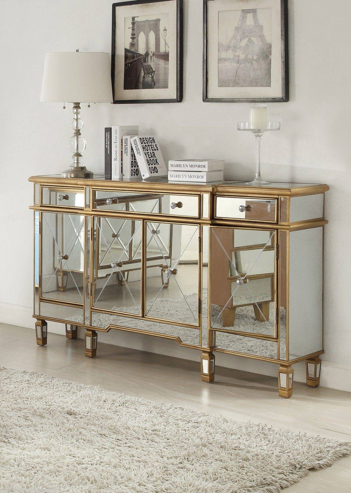 Furniture: Gorgeous Mirrored Buffet For Living Room Design With With Regard To Mirrored Sideboards Furniture (View 3 of 15)