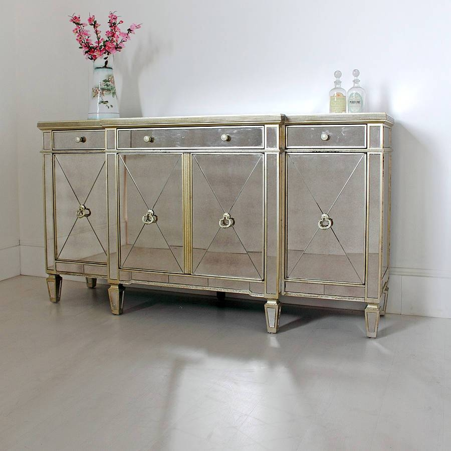 Furniture: Lovely Interior Decoration With Mirrored Buffet And Pertaining To Mirrored Sideboards Furniture (View 13 of 15)