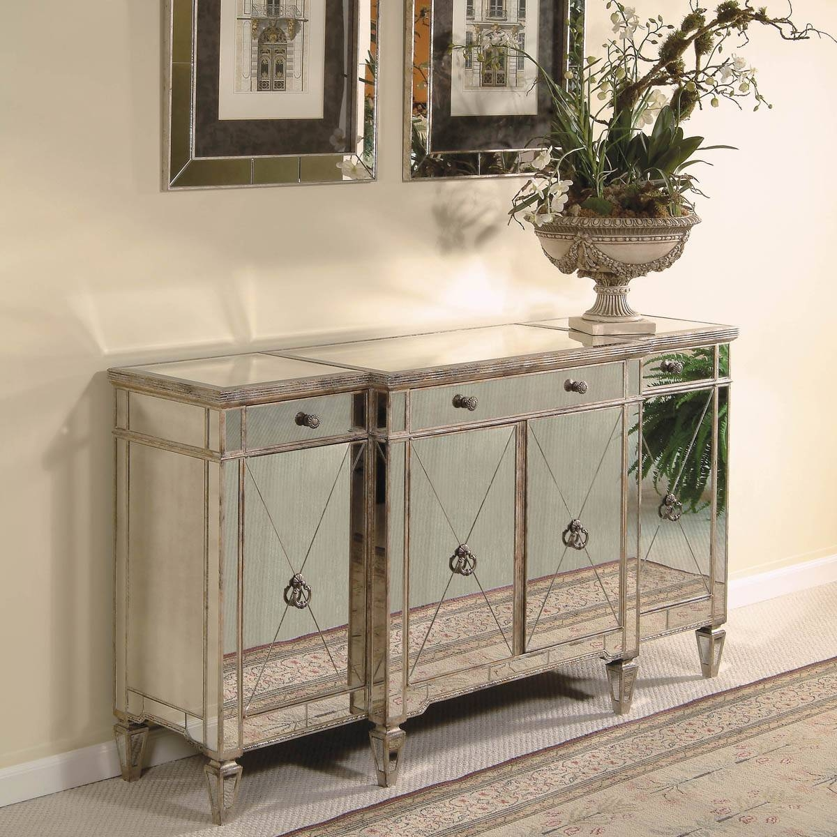 Furniture: Mirrored Computer Desk | Mirrored Buffet | Antique For Mirrored Sideboards Furniture (View 10 of 15)