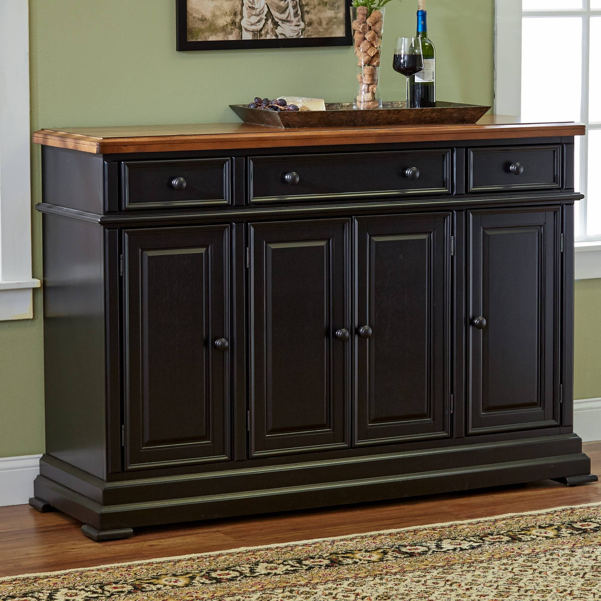 Furniture: Vivacious Kitchen Hutch Cabinets With Terrific Elegant Regarding Elegant Black Sideboards And Buffets (#6 of 15)