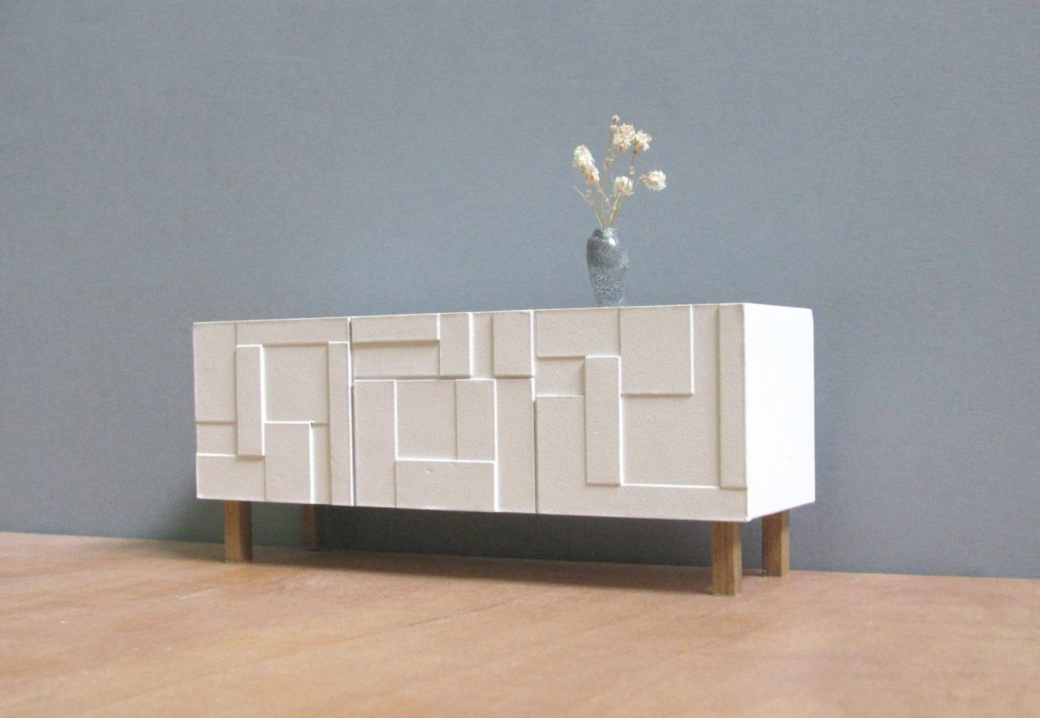 Furniture: White Paint Modern Sideboard With Glass Credenza Also Intended For Modern Sideboard Furniture (View 6 of 15)