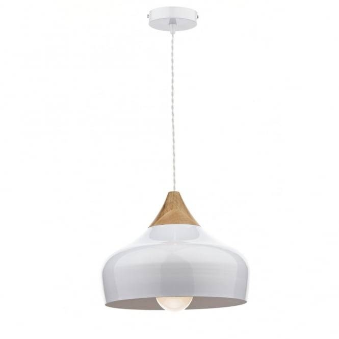 Gau0102 Gaucho Pendant | Dar Gloss White Ceiling Light Wood Detail Throughout Best And Newest Ceiling Pendant Lights (#9 of 15)