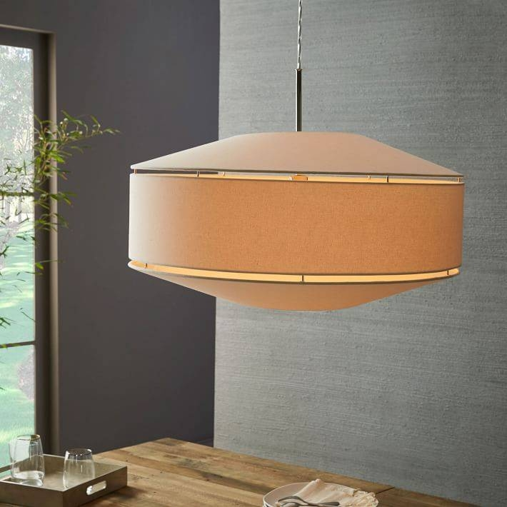 Inspiration about Geo Fabric Shade Pendant – Grand Drum (Polished Nickel/white With Regard To West Elm Drum Pendants (#9 of 15)