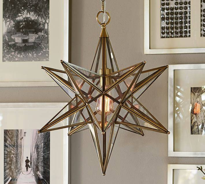 Inspiration about Glass Star Pendant | Pottery Barn Inside Current Star Pendant Lights (#2 of 15)