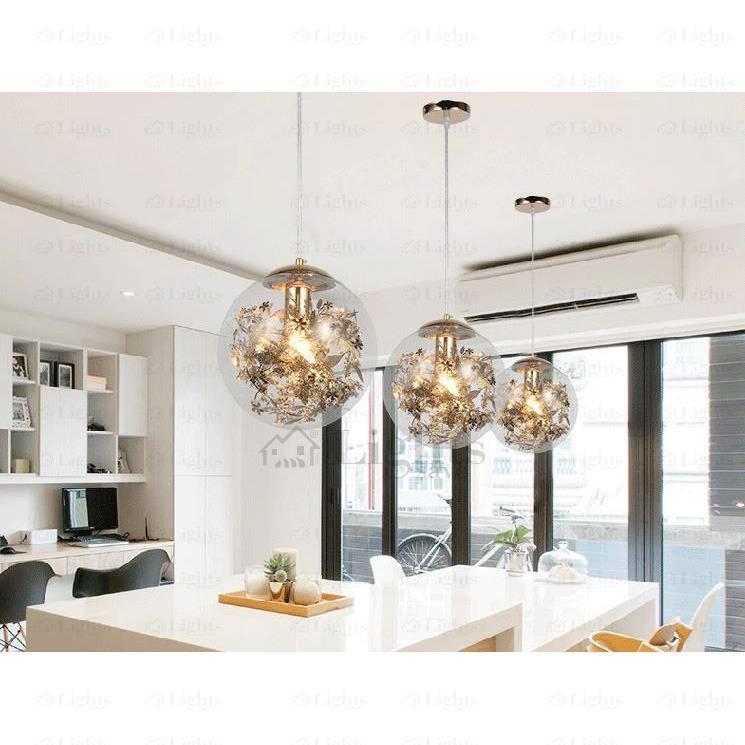 Globe Clear Glass Pendant Lights For Bedroom Intended For Newest Designer Glass Pendant Lights (#12 of 15)