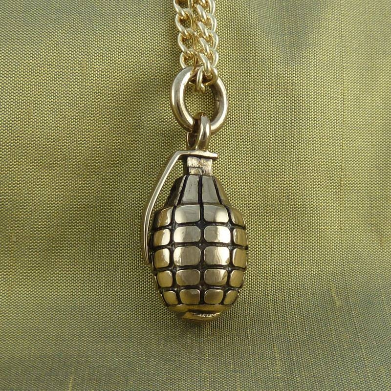 Inspiration about Grenade Necklace Bronze Hand Grenade Pendant On 24 Gold In Current Grenade Pendants (#8 of 15)